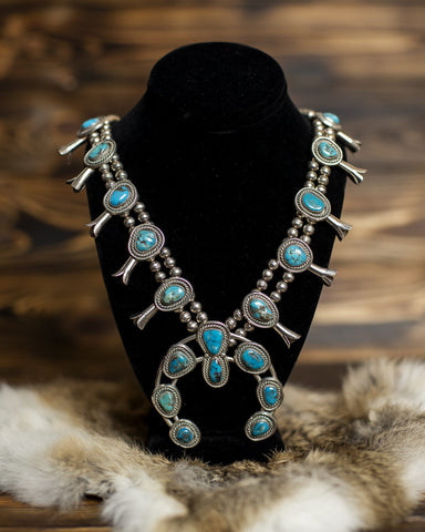 Kingman Turquoise Squash Blossom Necklace