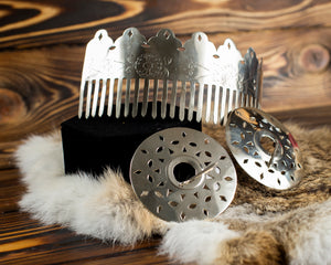 Native American Sterling Silver Crown and Brooches