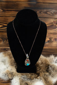Turquoise and Coral Silver Pendant with Chain