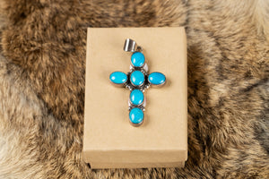 Sleeping Beauty Turquoise Cross Pendant