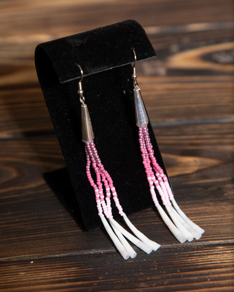 Ombre Beaded Dentalium Earrings