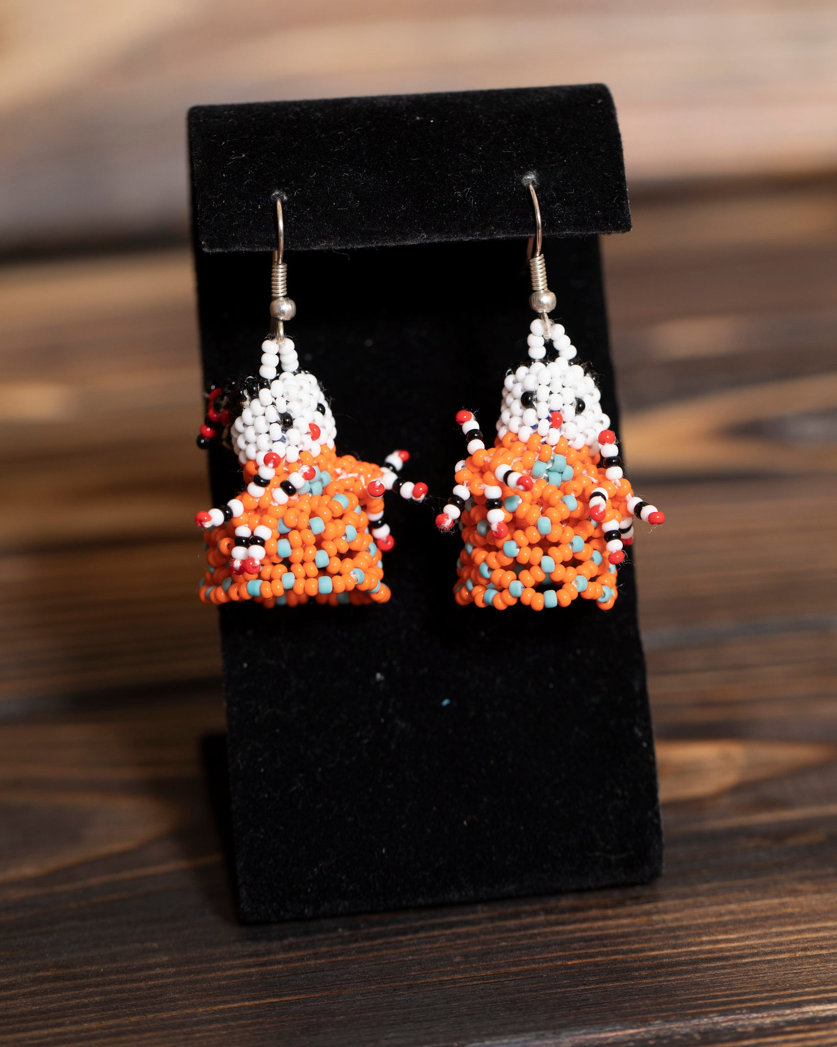 Beaded Lady Earrings-Orange