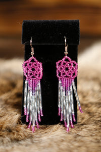 Flower Shaped Beaded Earrings
