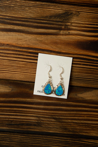 Blue Fire Opal Oval Earrings