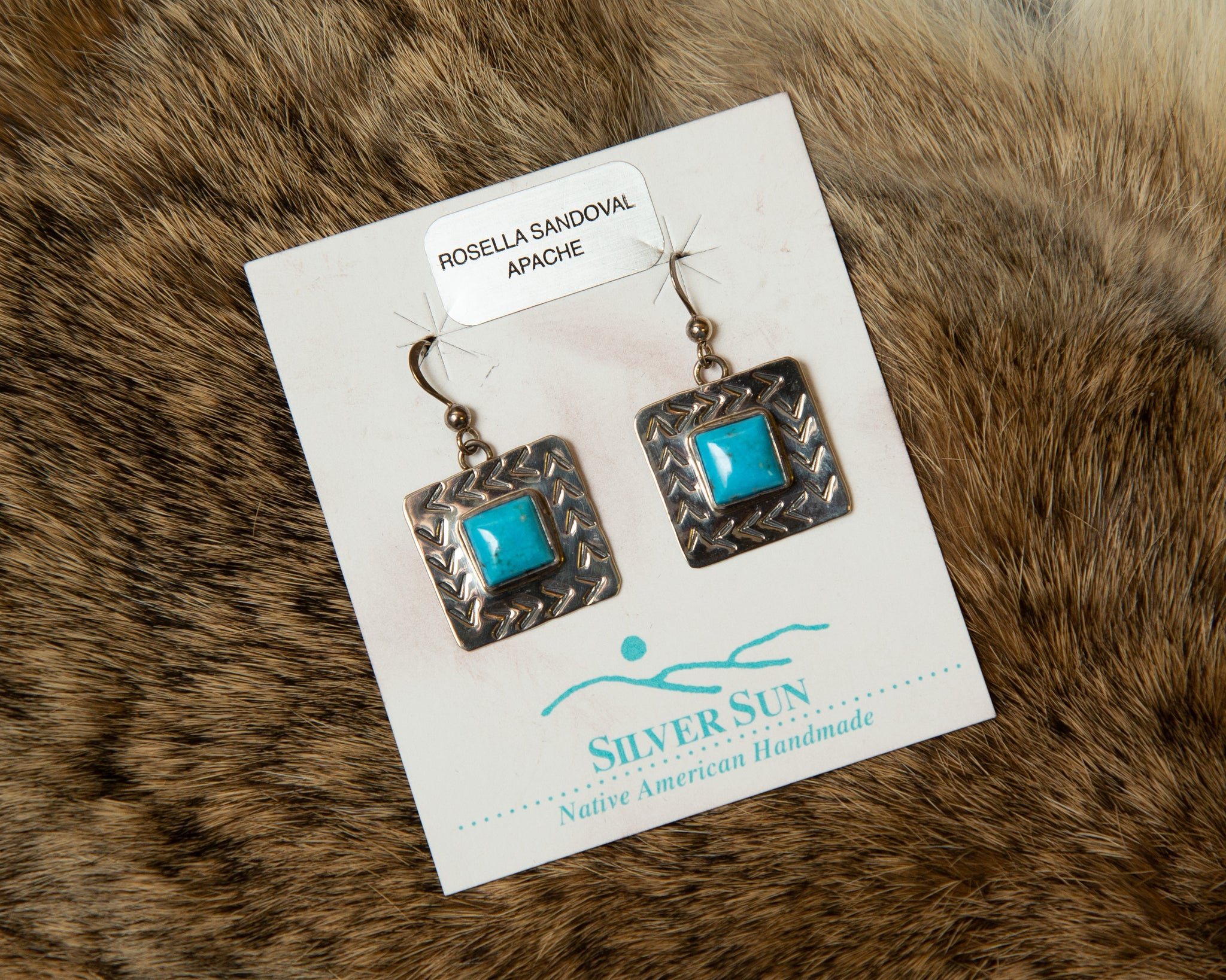 Stamped Sterling Silver Turquoise Earrings