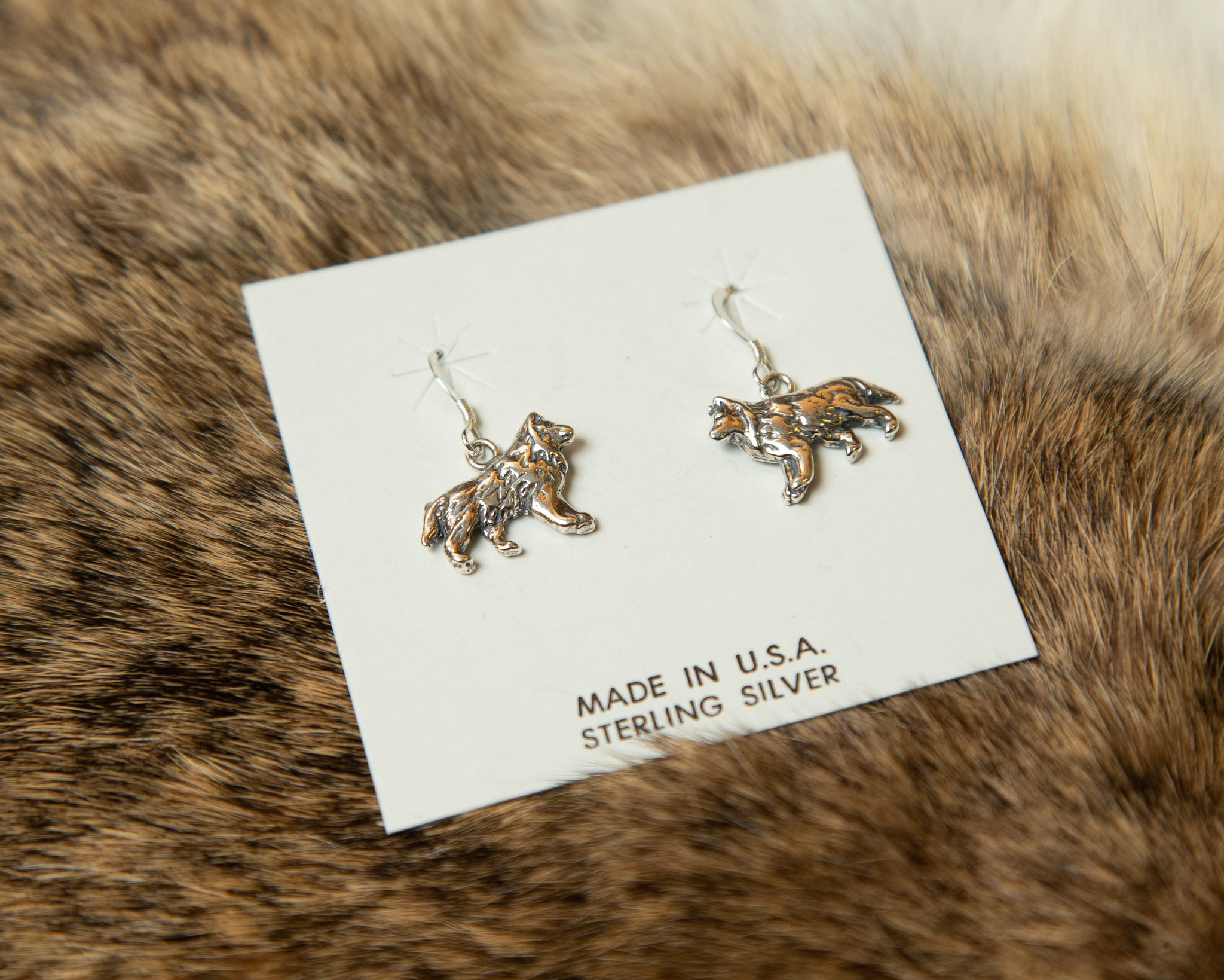 Sterling Silver Wolf Earrings