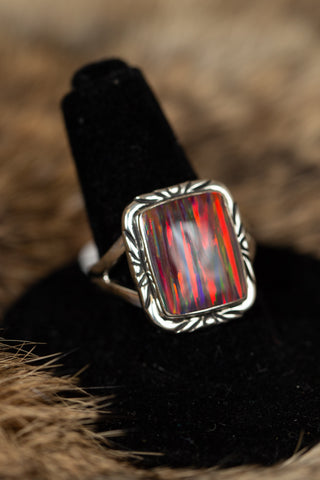 Square Red Fire Opal Ring