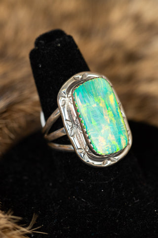 Rectangle Green Fire Opal Ring
