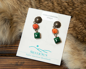 Jasper and Spiny Oyster Dangle Earrings