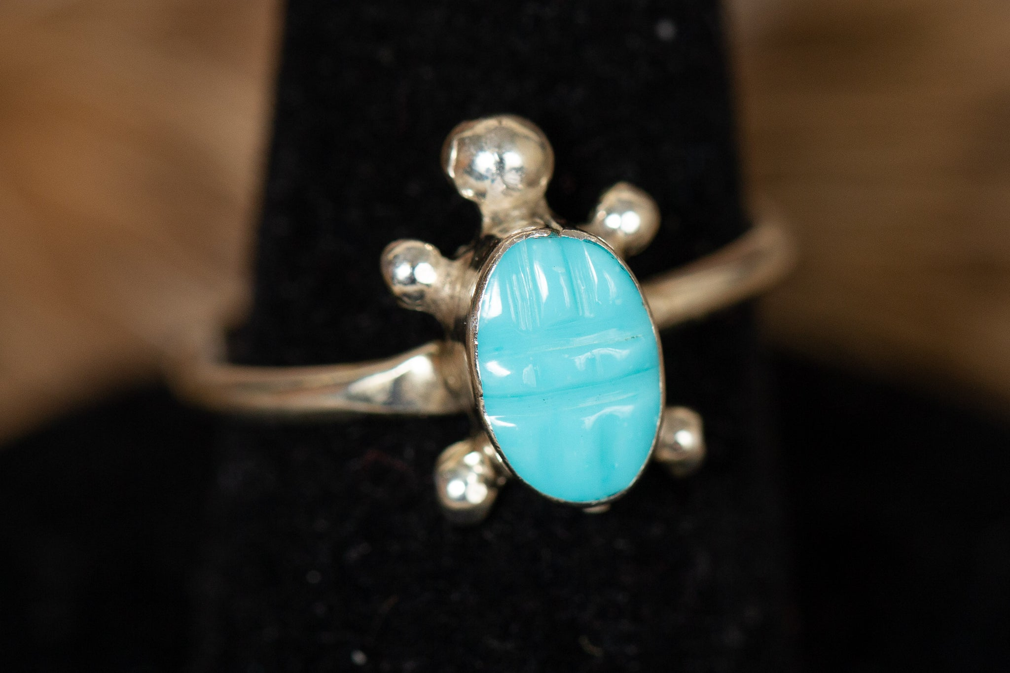 Turtle Shaped Turquoise Ring