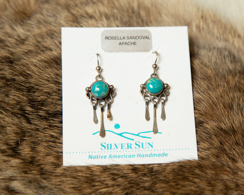 Authentic Sterling Silver and Turquoise Dangle Earrings