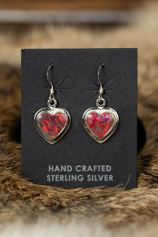 Heart Shaped Fire Opal Earrings