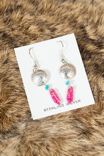 Sterling Silver Earrings with Colored Feather Stone