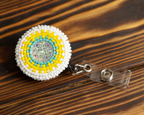 Sunflower Beaded Badge/ID Holder-