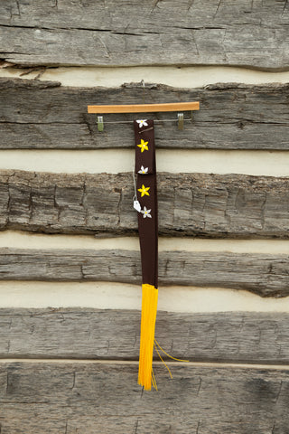 Brown Sash with Applique Flowers