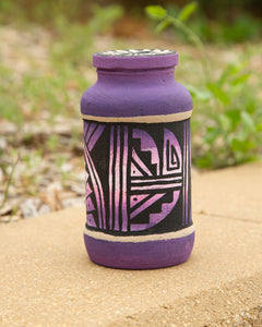 Sand Painted Bank Jar