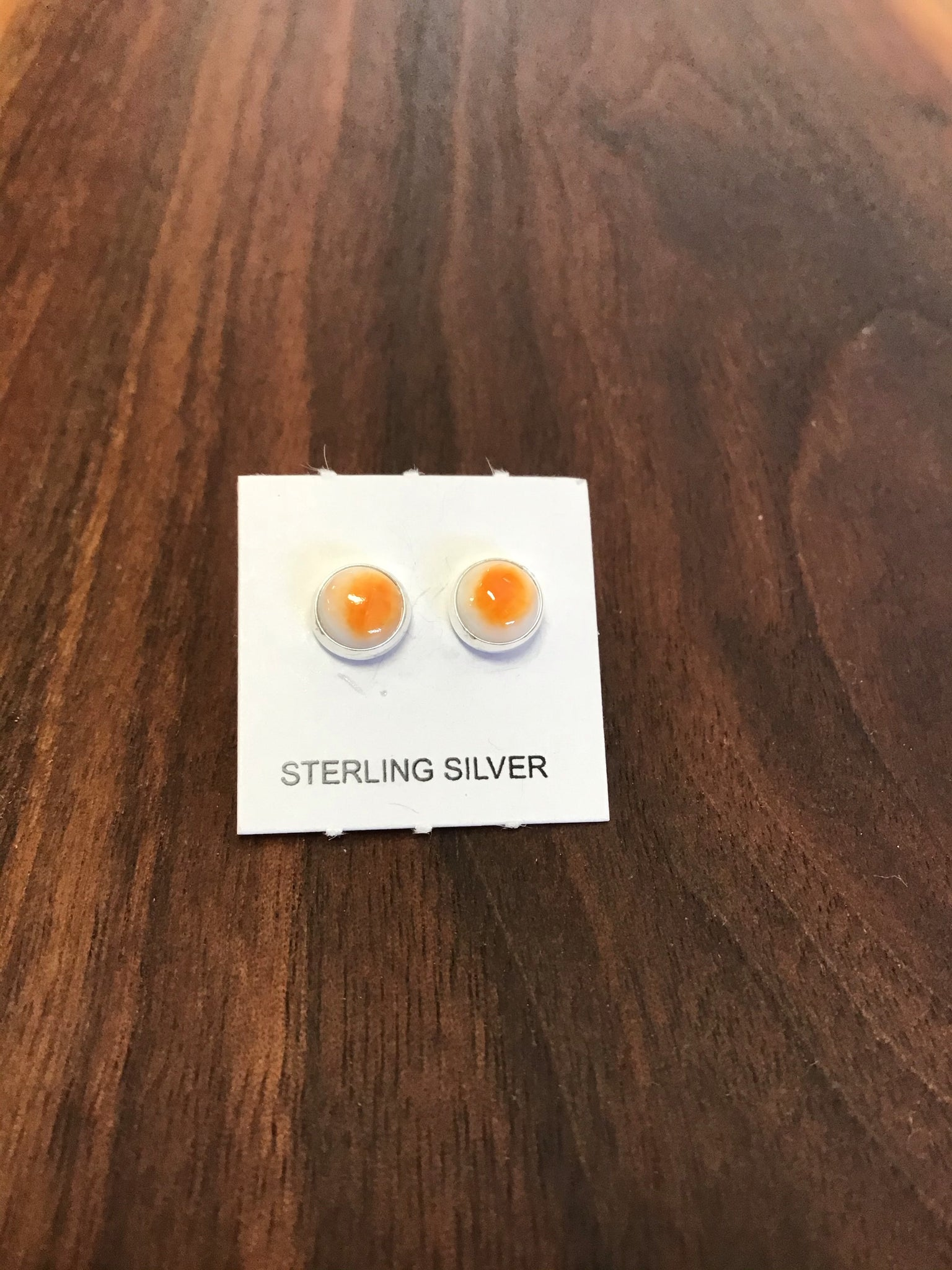 Orange Stone Post Earrings