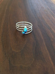 Turquoise Oval Stone Triple Layer Ring
