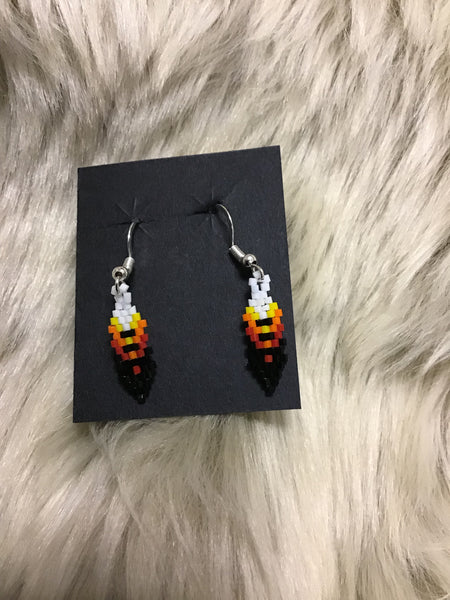 Feather Beaded Earring sm