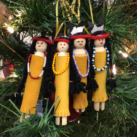 Native wooden-doll ornaments