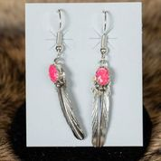 Sterling Silver Stamped Earring with Pink Opal