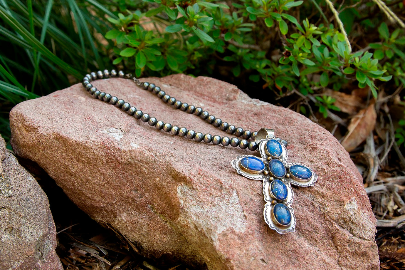 Denim Lapis Cross Necklace