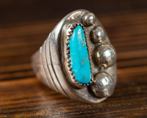 Turquoise and Silver Pearl Ring