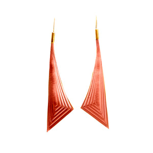 Earrings - Triangle - Coral