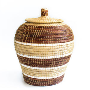 Grass vase basket with lid & gold straps