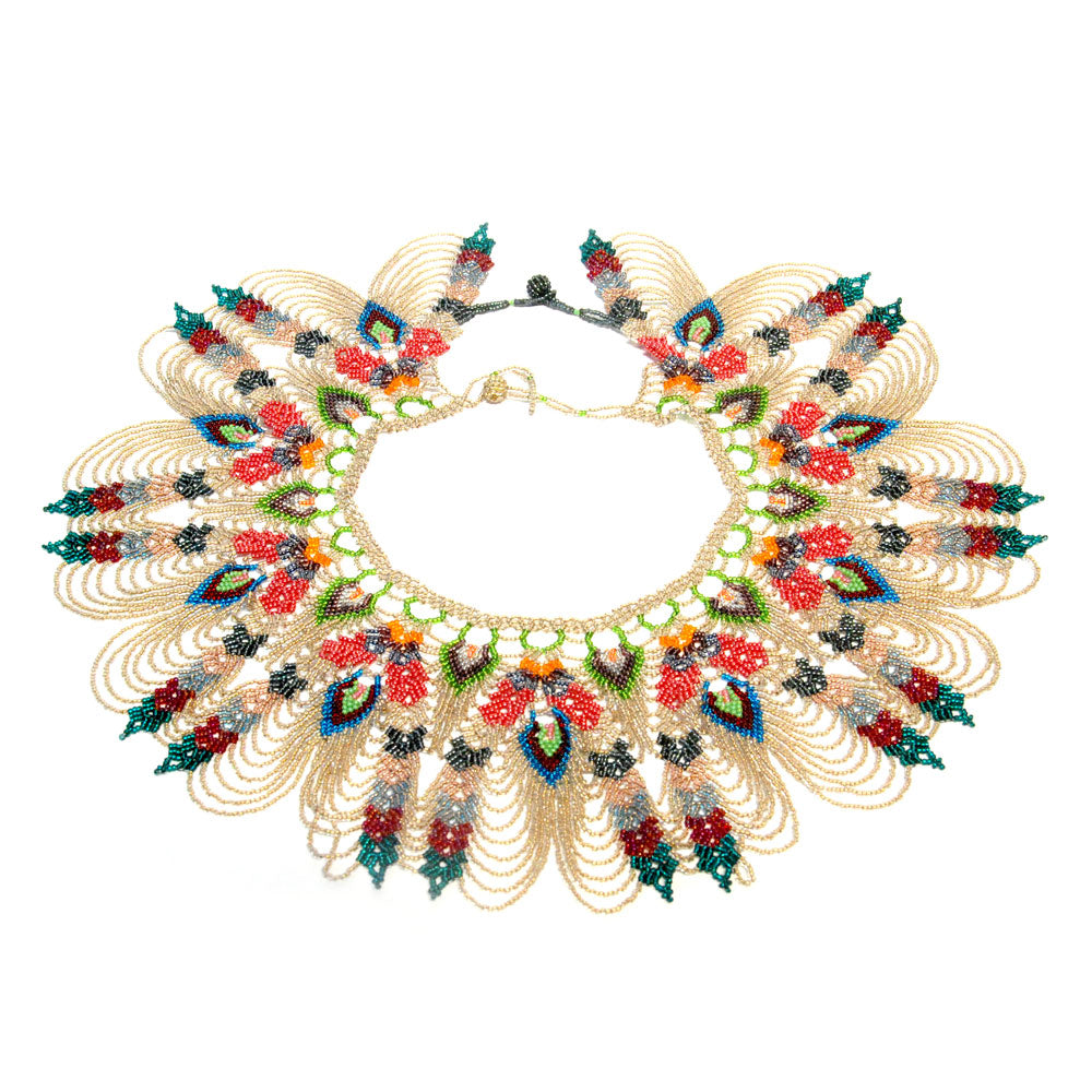 Beaded Peacock Collar Necklace / Gold