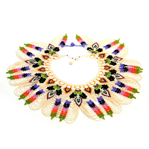 Beaded Peacock Collar Necklace / White