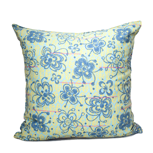 Cushion Cover - Blue Flower Large