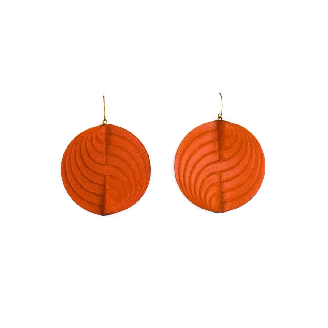 Earrings - Circle - Coral