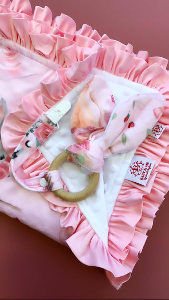 Little Dancer (Pink & White)- Ruffles Dinky Dot Baby Blanket
