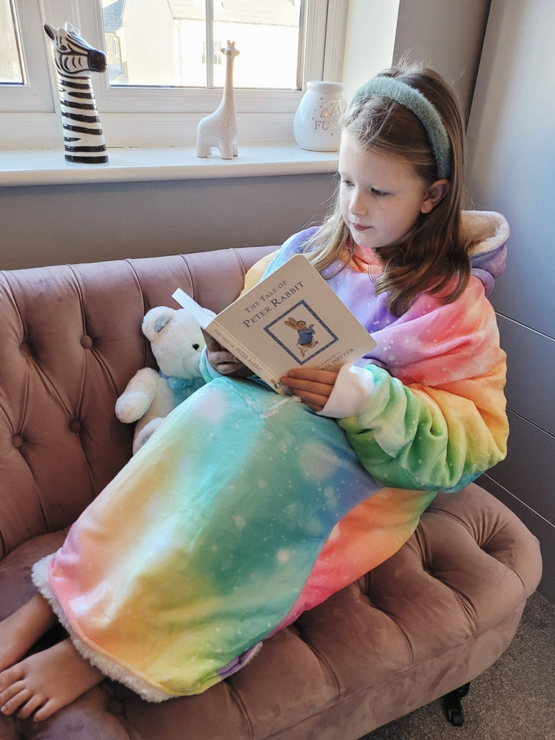Rainbow Galaxy Snuggle Hood Wearable Blanket (Kids, Free Size Adult, Plus Size) TEEN & ME