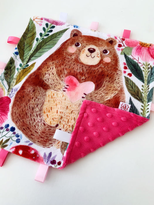 Hot Pink Crinkle Bear Teeny Tags Taggy Blanket