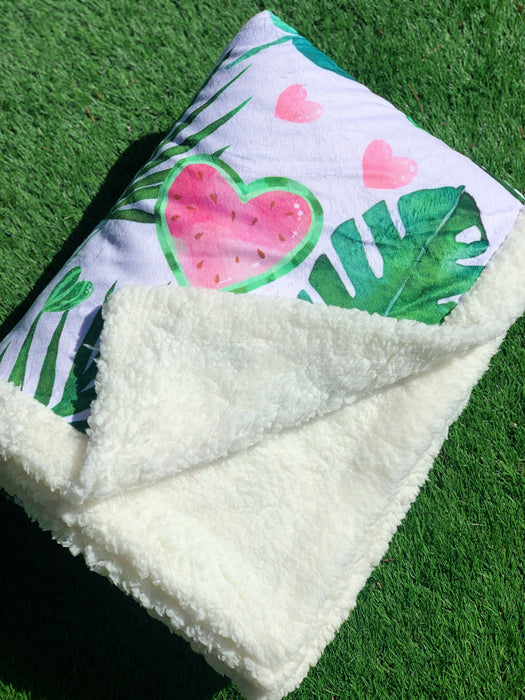 Watermelon Sherpa & Dinky Dot Back Cuddle Up Blanket