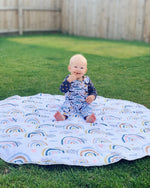 Boho Elephant Blue Large Play Mat