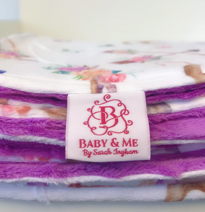 Violet Dreams Minky Dot Back Cuddle Up Blanket