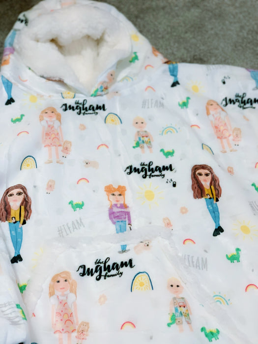 Ingham Family Animation Snuggle Hood Wearable Blanket (Kids, Free Size Adult, Plus Size)