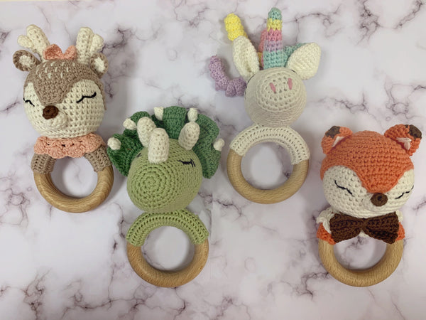 Friendly Dinosaur Handmade Crochet Baby Teething Rattle
