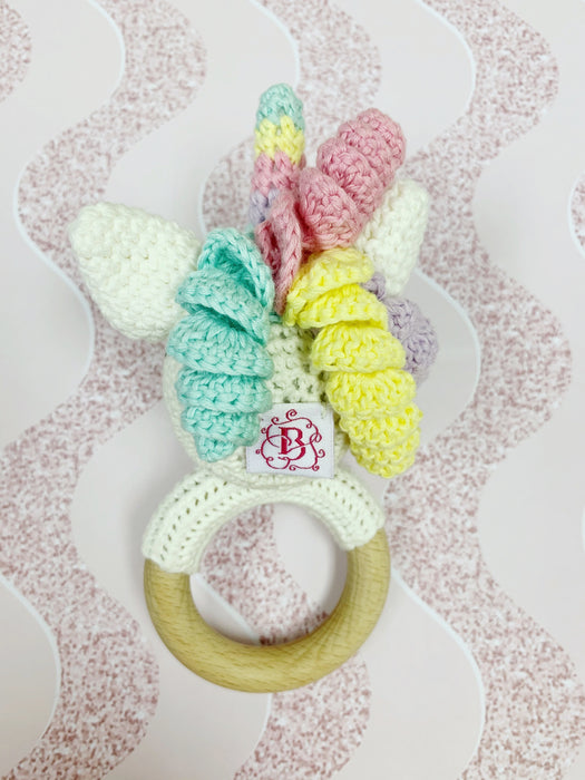 Friendly Unicorn Handmade Crochet Baby Teething Rattle
