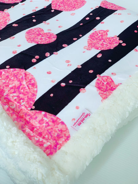 Hearts & Stripes Cuddle Up Blanket