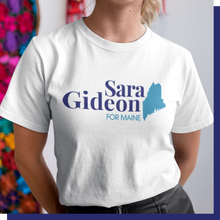 Load image into Gallery viewer, Sara Gideon White Logo Tee