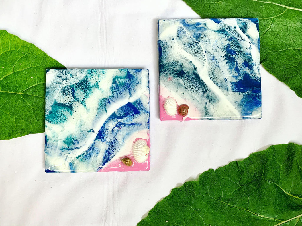 Set of 2 pink sand beach coasters