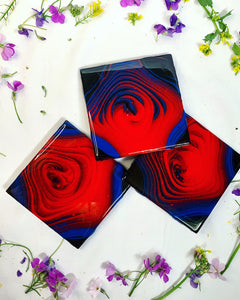 Set of 3 blue, red and black coasters