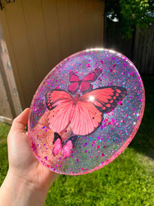 Pink Butterfly rolling tray
