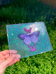 Rectangle purple butterfly tray