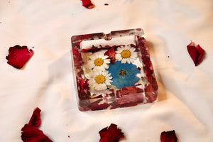 Blue Pop Square Botanical Ashtray