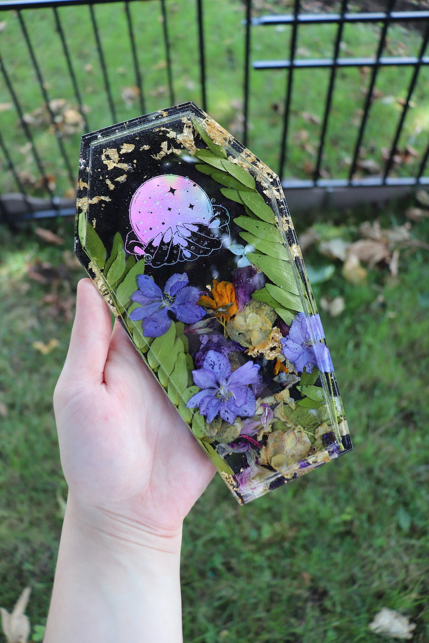 Black Botanical Coffin Tray